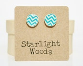 Chevron Blue Post Earrings. Turquoise Blue stud earrings. Blue Studs. Blue Earrings. Wood earrings. Minimalist jewelry  eco friendly