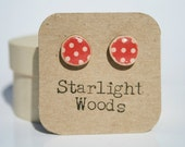 Stud wood Earrings red polka dot  reclaimed wood earrings nature lover nature gift eco-friendly unique gift for her