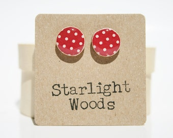 Red polka dot stud earrings red post earrings eco-friendly jewelry unique gift for her