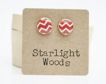 Red Chevron Stud Earrings. Red stud earrings Cranberry earrings Red Earrings. Red Post Earrings