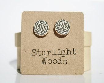 Grey Stud Earrings. Geometric Stud Earrings. Grey Studs. Wood Earrings. Grey Earrings. Starlight Woods