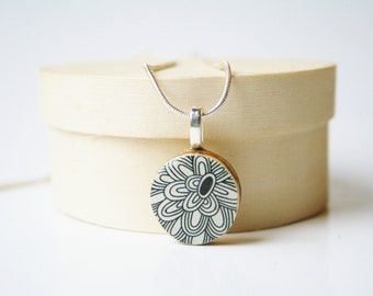 Black and White Flower Necklace. recycled Black Flower pendant.  Black Necklace. Flower necklace.  Wood Pendant Necklace.