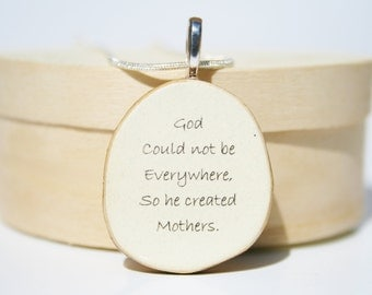 Mothers Necklace. Mom necklace. Mom. Mom Quote Necklace. Wood Pendant Necklace. Wood Necklace. Starlight Woods