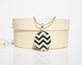 Chevron Pendant necklace black and white  geometric jewelry wood pendant jewelry gifts for her