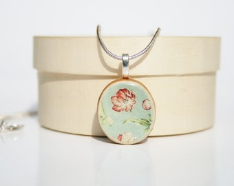 Pendant necklace vintage floral pattern Necklace eco friendly necklace bridesmaid jewelry valentines day gifts for her
