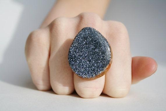 Grey Sparkle Statement Ring. Grey Statement Ring. Wood Statement Ring. Glitter Statement Ring. Starlight Woods