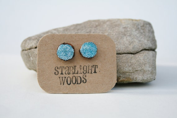 Earrings blue sparkle stud wood earrings, reclaimed wood earrings, nature lover, nature gift, eco-friendly, unique gift for her