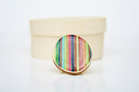 Cocktail Ring rainbow stripes wood jewelry Unique ring Chunky ring minimalist jewelry nature lover jewelry