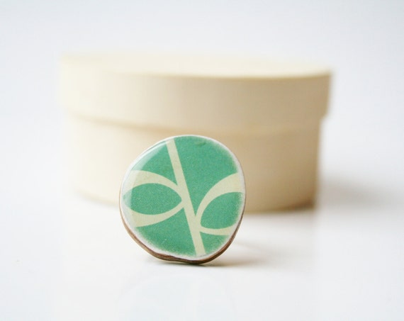 Cocktail ring teal floral geometric pattern delicate jewelry bridesmaid jewelry eco fashion Chunky ring minimalist jewelry