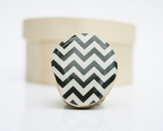 Black Chevron Statement Ring. Black Statement ring. Black and White Statement Ring, Wood Statement Ring, Starlight Woods, Chevron jewelry