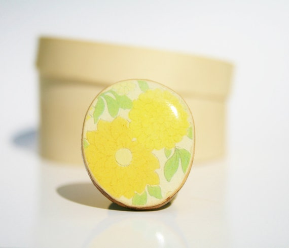 Cocktail Ring yellow vintage floral wood ring floral jewelry delicate jewelry for her eco friendly nature gift
