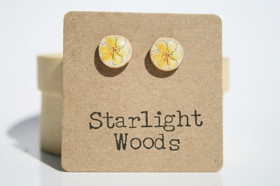 Yellow Floral Studs wood Earrings Spring fashion post earrings minimalist jewelry gift for her nature gift eco-friendly
