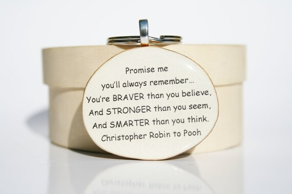 Inspirational keychain, graduation keychain, gift for men going away gift, graduation gifts, winnie the pooh quote, eco friendly