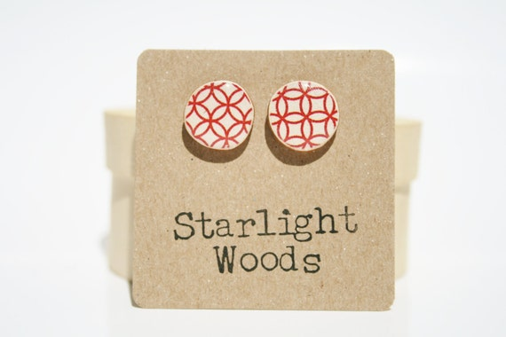 Re Stud earrings. Red Pattern Studs. Red Circle Studs. Cute Red Studs. Wood Earrings. Wood jewelry. Starlight Woods