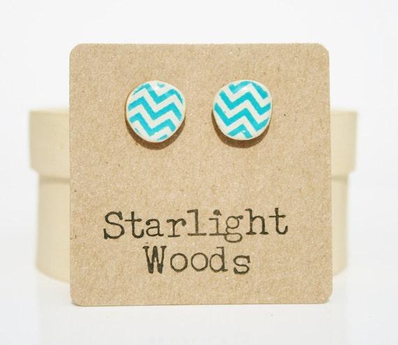 Chevron post earrings Turquoise spring jewelry stud earrings eco fashion wood earrings Minimalist jewelry  eco friendly eco fashion