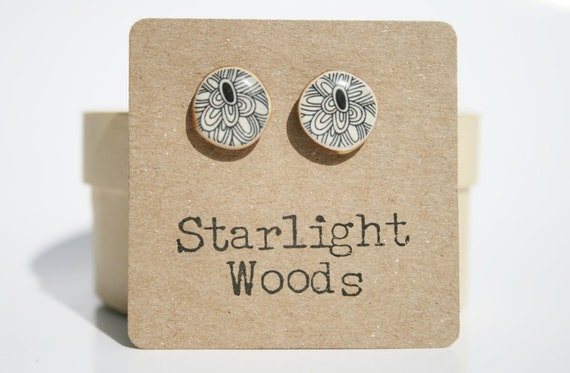 Black flower stud earrings- teen gift black floral studs- black earrings- starlight woods
