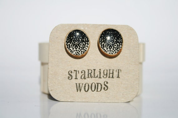 Stud wood Earrings black dot pattern reclaimed wood earrings minimalist jewelry nature lover nature gift eco-friendly unique gift for her