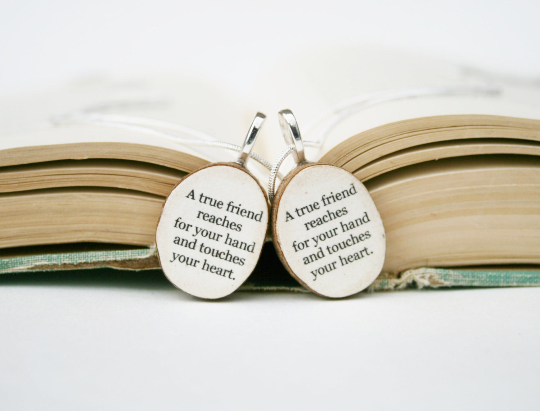 best friend necklace set wood best friend gift gift for. Black Bedroom Furniture Sets. Home Design Ideas
