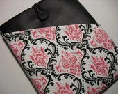 iPad Sleeve iPad Case Cover with Pocket --Black and Pink Damask--Black Faux Leather
