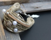 Hemp Bracelet with leather, metal beads and pearls - Elements collection