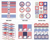 NAUTICAL Birthday Party or Baby Shower - Nautical Printables Package - Red and Blue Printables - Kids Party