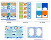 Pool Party Birthday or Baby Shower -  Under the Sea Party Printables Package - Blue and White Printables - Pool party Invitation