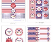 MEMORIAL DAY / 4th of July Party Printables - Patriotic Party Printables - Instant Download