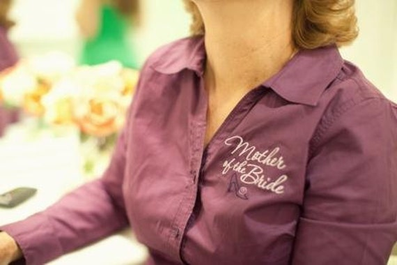 Mother of the Bride Embroidered Button Down Shirt