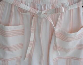 Mom's half  tie on gathered apron, creamy white with pastel peach stripes