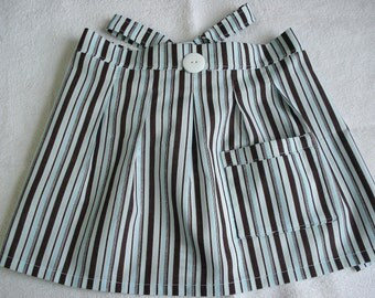 Toddler, Pleated,  Half APRON, 100%  Cotton, Robins Egg Blue and Brown Stripes