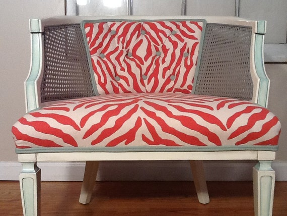 Peachy-Keen Orange Coral Hollywood Vintage Cane Chair