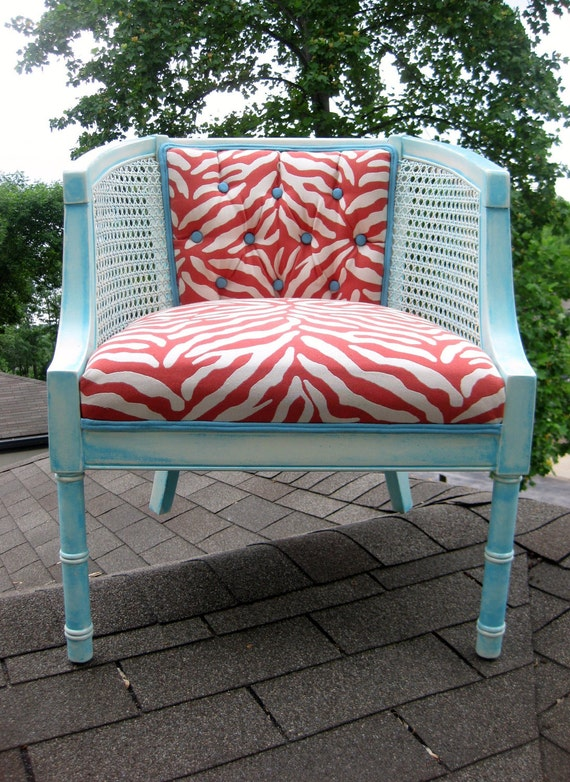 Coral Orange Peach Aqua Vintage Barrel Cane Side Chair