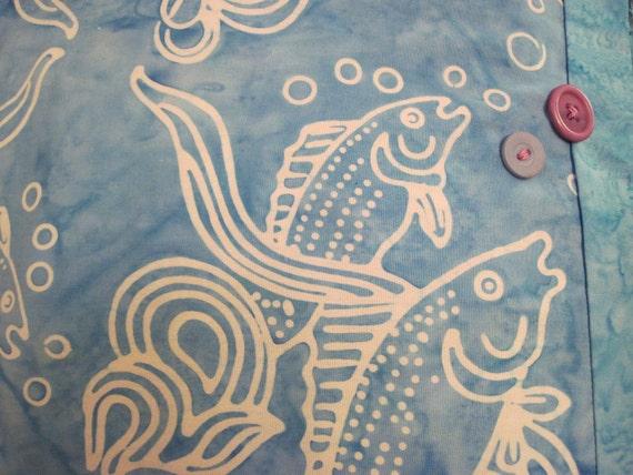 """14"""" x 14"""" Big Fish Blues Fine Batiks Unique Pillow Cover"""
