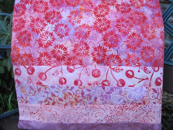 """14"""" x 14"""" Batiks PILLOW COVER -  Celebrate Gardening Orchards Vibrant Pink Florals and Sweet Cherries"""