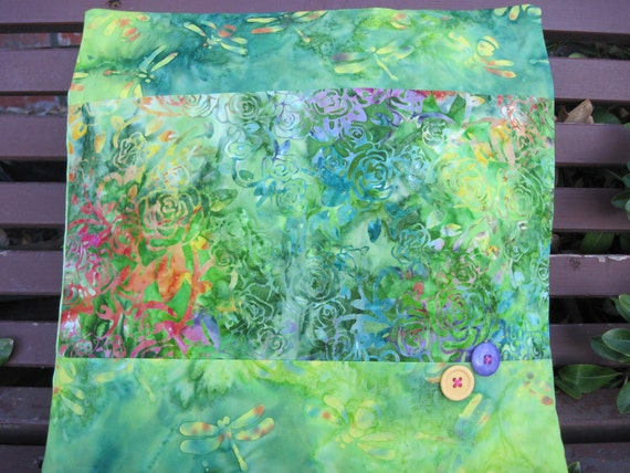 "14"" x 14""  Roses and Dragonflies Nature Garden Greens Fine Batiks Pillow COVER"