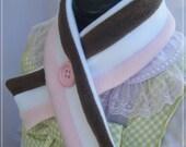 Neopolitan stripe button up soft fleece muffler