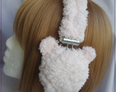 Super soft and fuzzy pastel pink bear headphones (gray ear pads and gray cording)