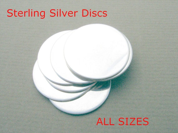 Sterling Discs ALL SIZES Sterling Silver Discs Blanks Handstamped Metal Jewelry Making Supplies Round Disks Circles CHOOSE Inch mm Gauge