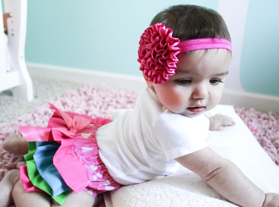 Multicolored ruffle bloomer and headband set 6-12 months