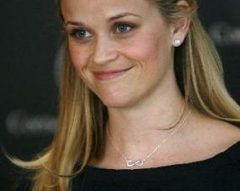 Infinity Link Necklace, Sterling Silver, Reese Witherspoon, Celebrity Inspired Necklace