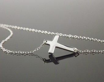 Jennifer Lopez, Sterling Silver Sideways Cross Necklace, Horizontal Celebrity Inspired Necklace, 16 Inch Chain