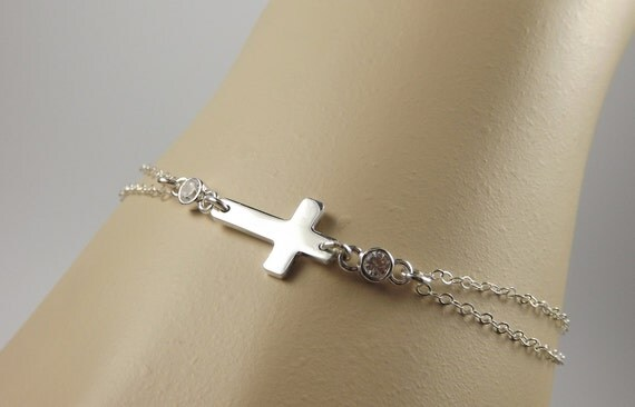 Sideways Sterling Silver Small Cross Bracelet, East to West, Celebrity Inspired