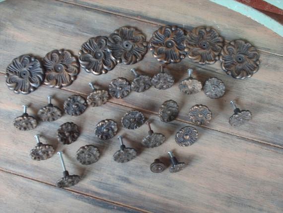 Set of Vintage Metal Knobs Crafting Supplies