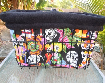 Custom Cruiser Covers--Sugar Skulls - Reversible Bicycle Basket Liner