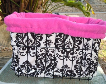 "Custom Cruiser Covers - ""Damask"" and pink reversible Basket Liner"