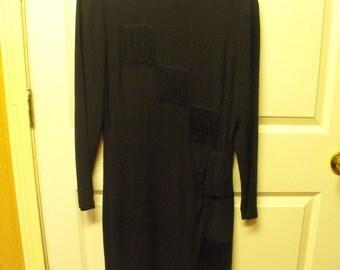 SALE40s black fringe dress
