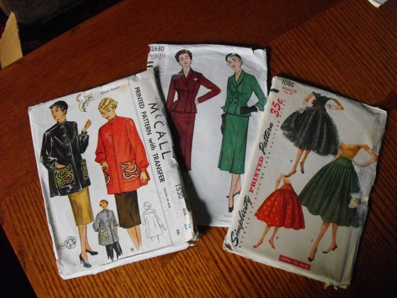 50s McCalls Simplicity jacket suit skirt  patterns lot of 3
