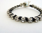 Rhinestone friendship bracelet / black / white / b&w / neutral