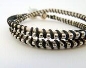 Ball chain friendship wrap bracelet / black / white / b&w / neutral zebra modern / friendship / BFF teens tweens / Graduation Gift