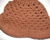 handmade in the USA crocheted Brown cuffed hat